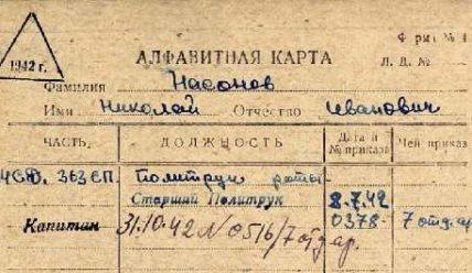 Алфавитная карточка военнообязанного